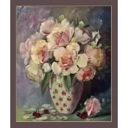 Róże w wiśniach